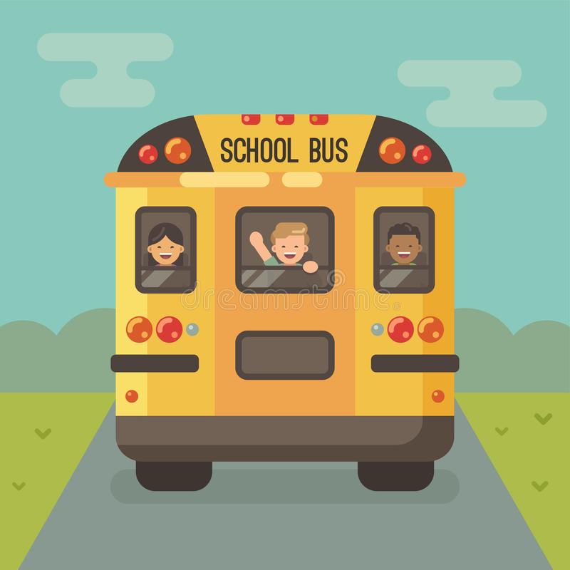 Yellow school bus on the road with three children stock illustration