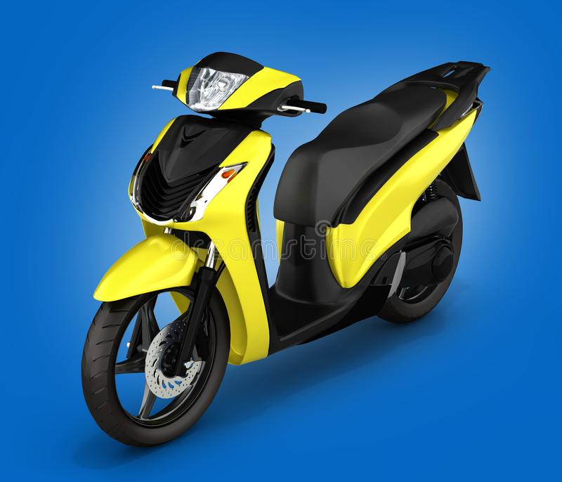 Yellow scooter on blue gradient background 3d illustration vector illustration