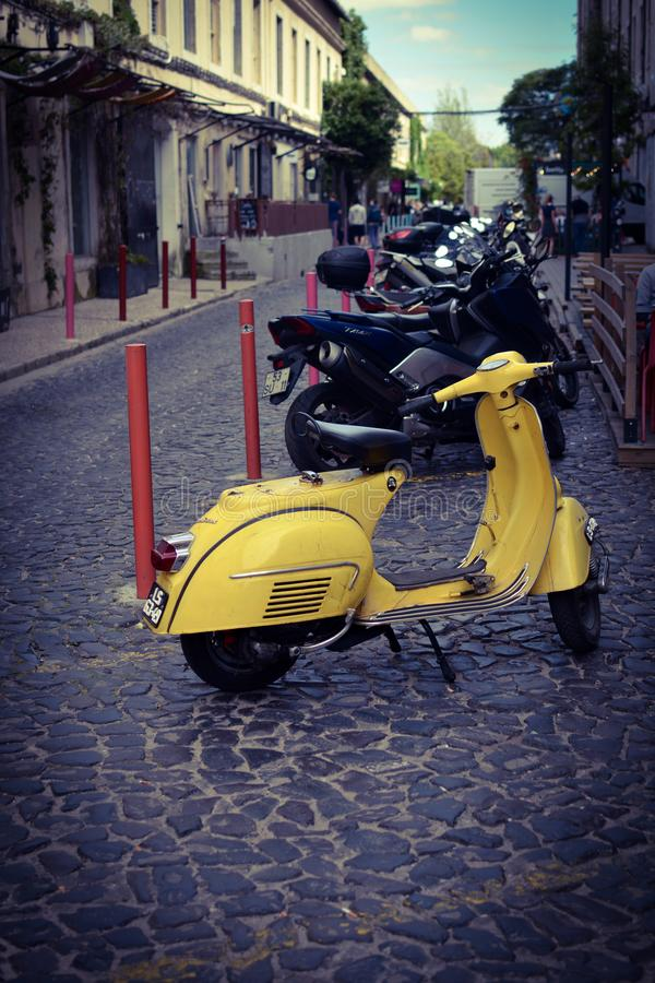Yellow Scooter stock photo