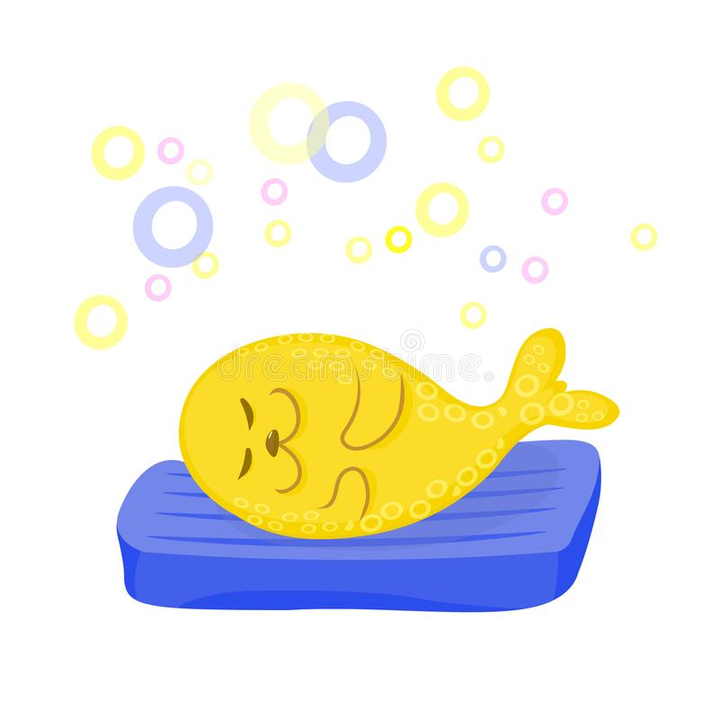 Yellow seal lying lazy on blue mattress. Vector color image. Happy yellow seal lying on blue air mattress. Vector color cartoon image vector illustration