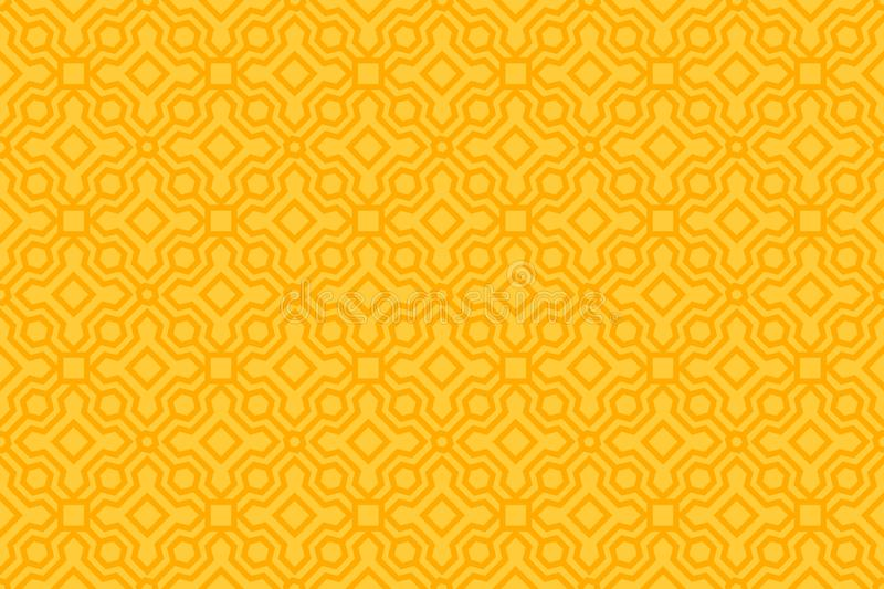 Yellow Seamless Pattern with Oriental Geometric Ornament. Minimalist Abstract Background. Vector Illustration. vector illustration