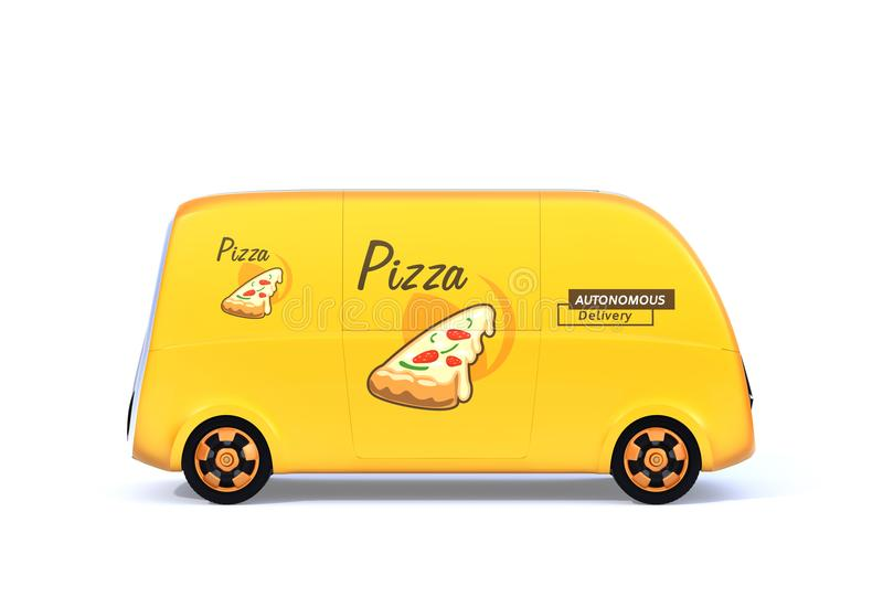 Yellow self-driving pizza delivery van on white background. Side view of yellow self-driving pizza delivery van on white background. 3D rendering image vector illustration