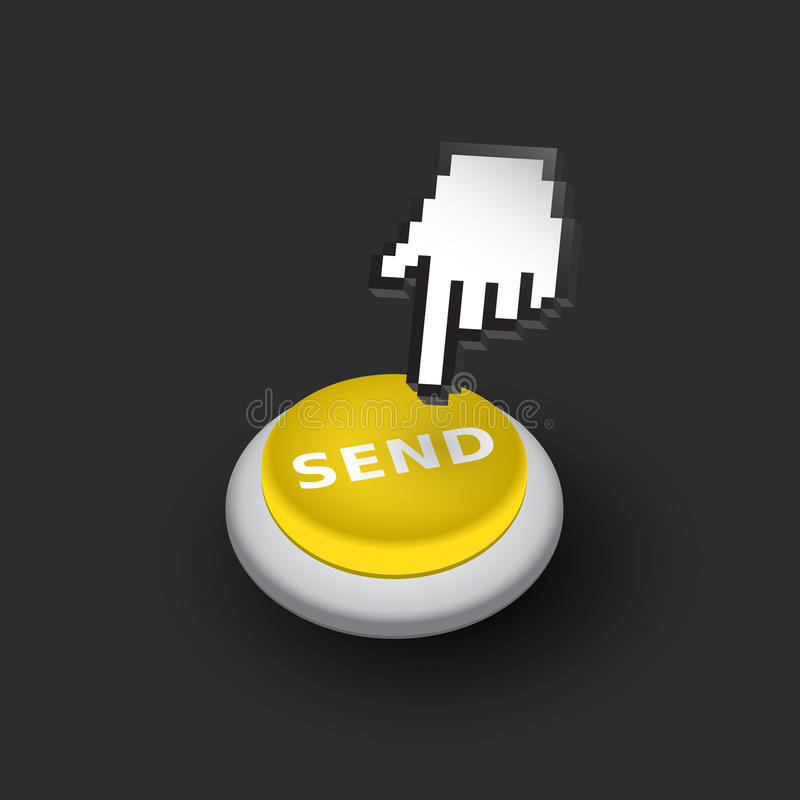 Yellow Send push button sign emblem vector illustration. Hand with touching a button or pointing finger - dark version vector illustration