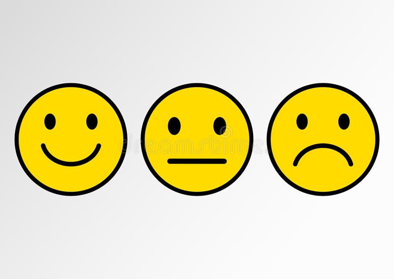 Yellow set of smileys. Smileys emoticons icon positive, neutral and negative. Vector illustration. Yellow set of smileys. Smileys emoticons icon positive vector illustration