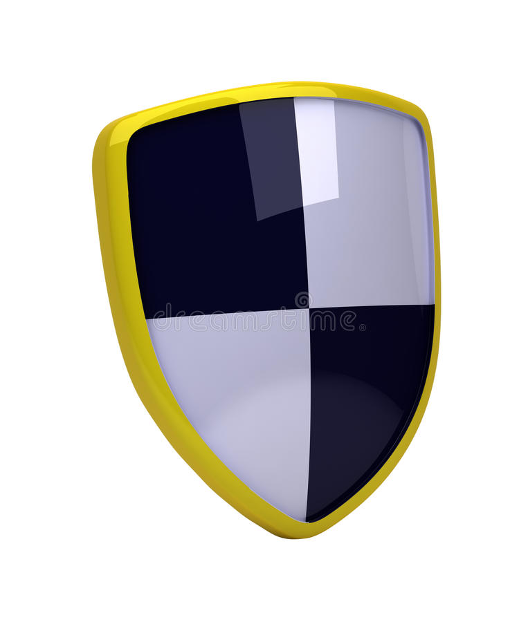 Yellow shield with white and black diagonal squares - high resolution image stock illustration