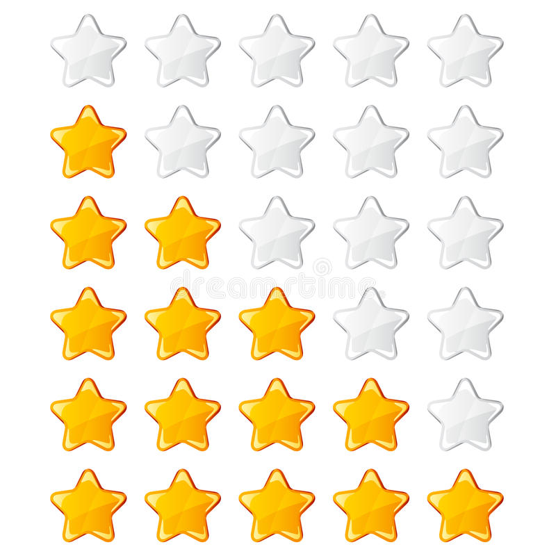 Yellow shiny rating stars stock illustration
