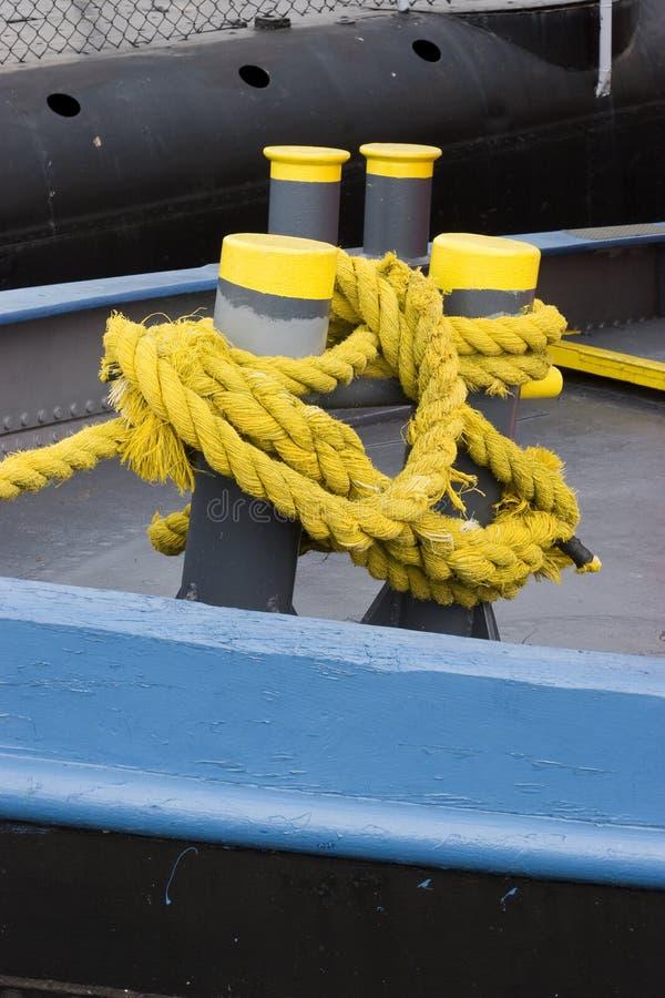 Yellow ship ropes royalty free stock photos