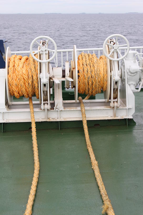 Yellow ship ropes. Seen on a small ferry to the island Utsira in Norway, Europe stock photo