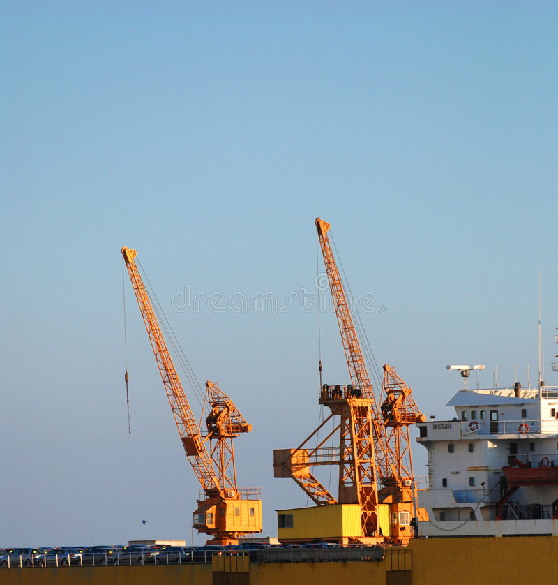 Yellow shipyard cranes royalty free stock photo