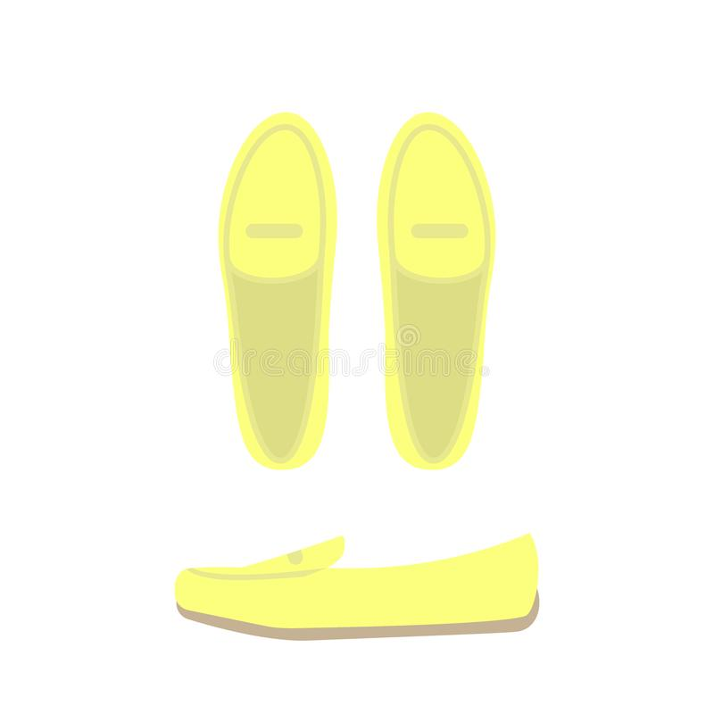 Yellow shoes top and side view. Women`s casual shoes stock illustration