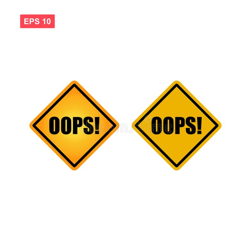 Yellow sign oops vector isolated royalty free illustration