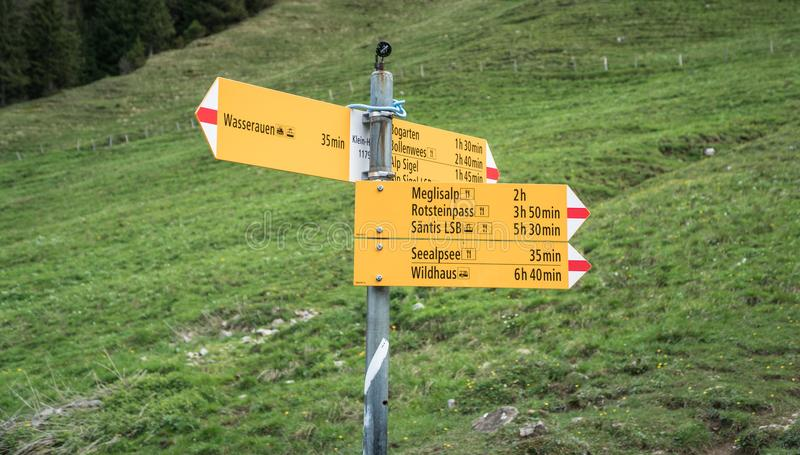 Yellow sign post with mountains in the Swiss Alps. royalty free stock images
