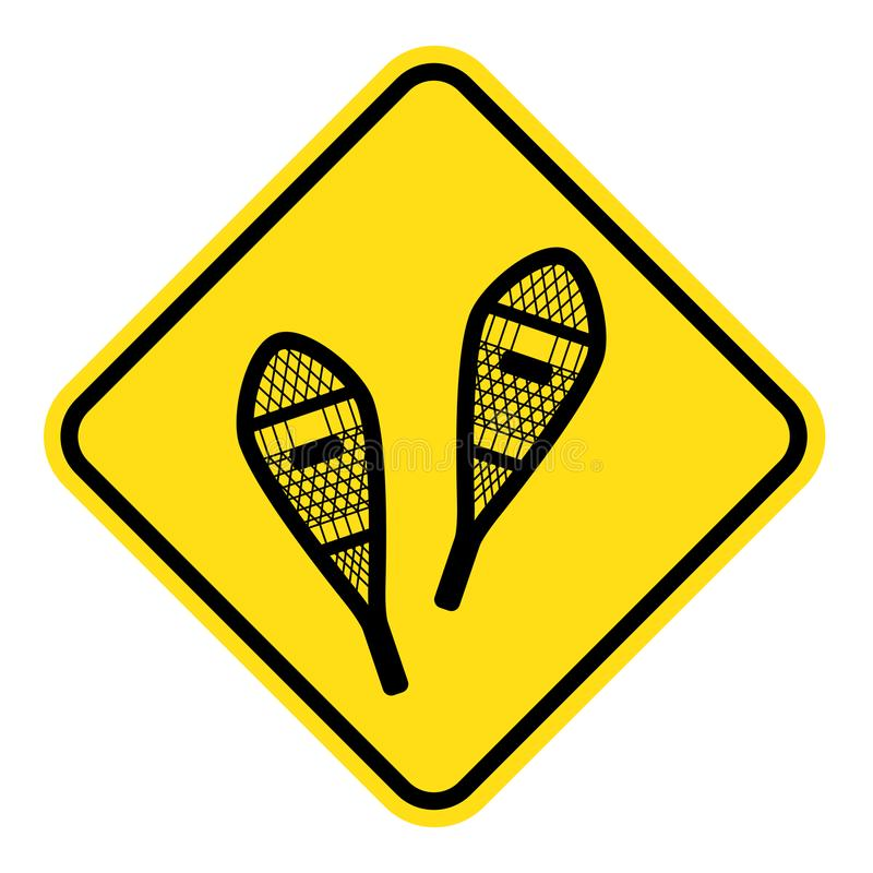 Yellow sign for snowshoeing route. Old style traditional snowshoes. winter outdoor activity vector illustration