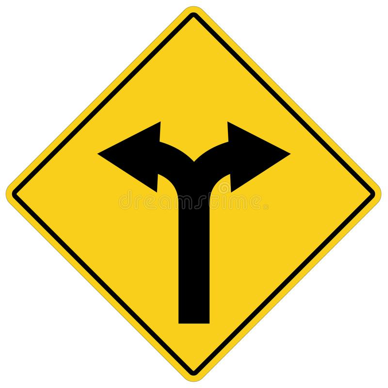 Yellow sign with two arrows. fork road yellow warning symbol. stock illustration