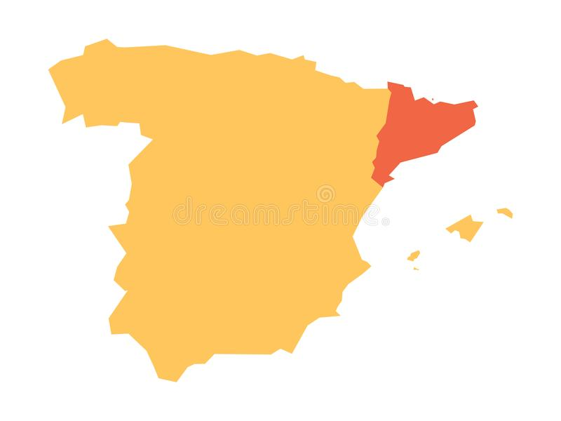 Yellow silhouette map of Spain with red highlighted Catalonia region. Simple flat vector illustration vector illustration