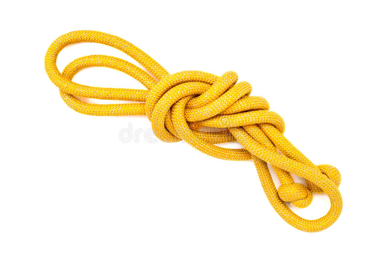 Yellow skipping rope isolated on white background