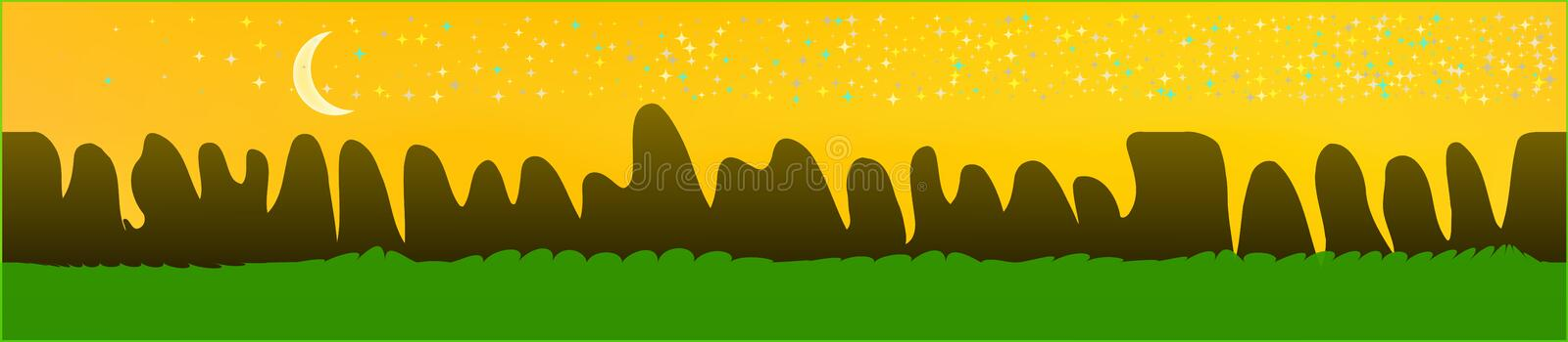 Yellow sky, and mountains landscape. Abstract, horizontal texture background picture. Colorful skinali background abstraction. Recent glass print fantasy royalty free illustration