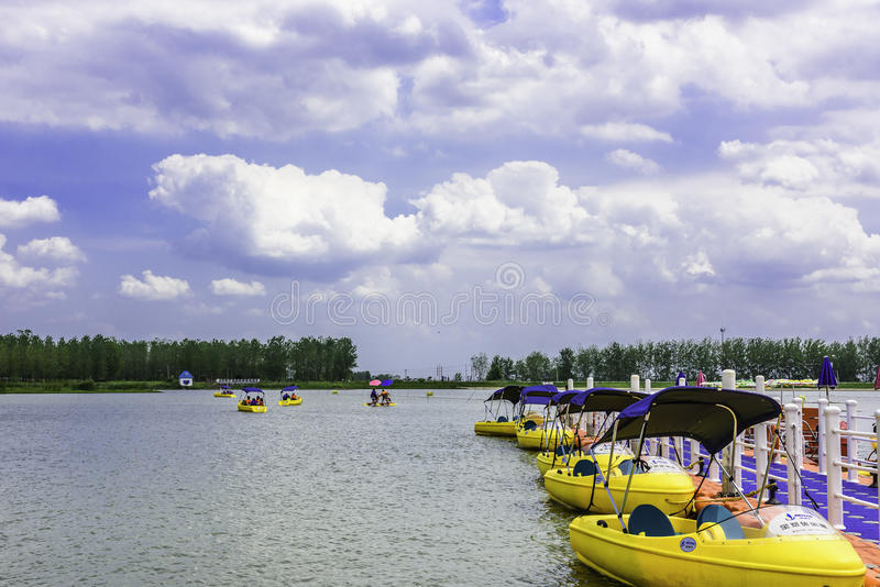 Yellow small boats stock photography