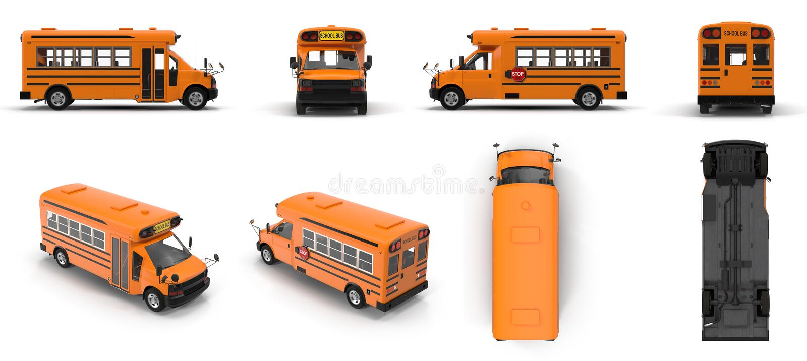 Yellow small school bus renders set from different angles on a white. 3D illustration. Yellow small school bus renders set from different angles on a white royalty free illustration