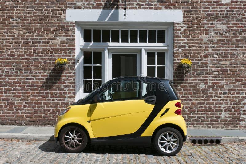Yellow Smart Car royalty free stock image