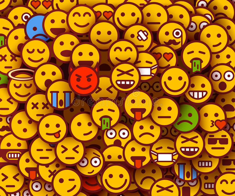 Yellow smiles background. Emoji texture. royalty free illustration