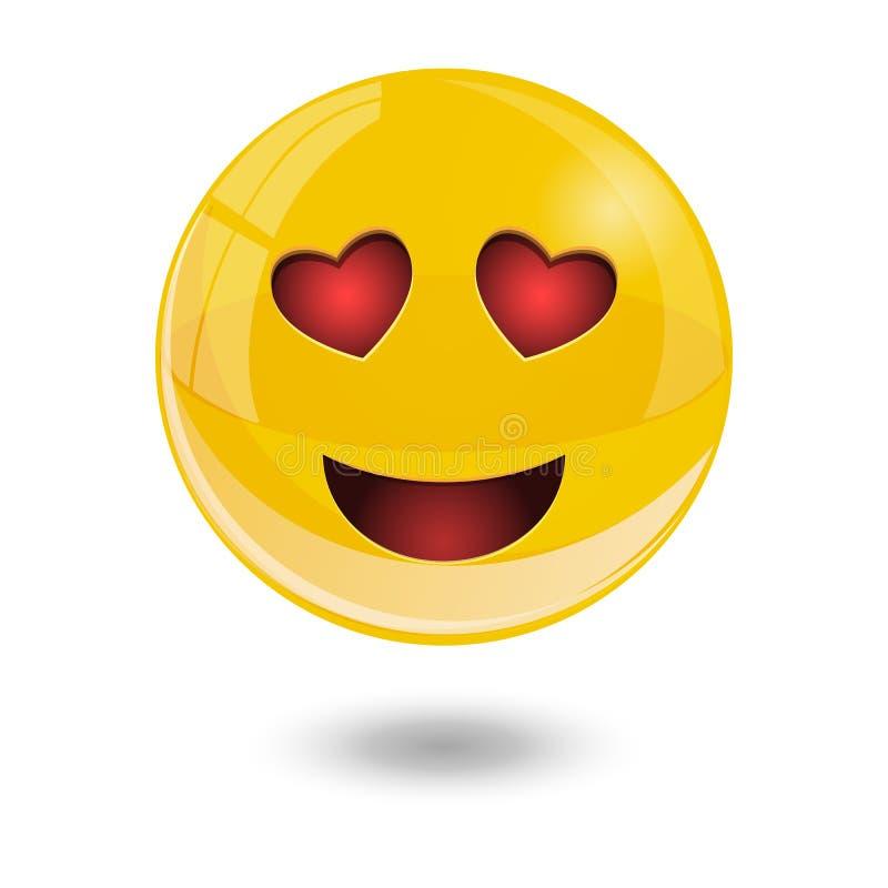 Yellow smiley emoticons, emoji, vector illustration. Yellow glass smiley emoticons emoji, vector illustration stock illustration