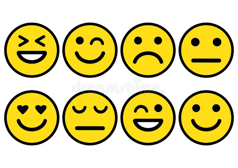 Smileys emoticons icon positive, neutral and negative, different mood. Vector illustration. Yellow smileys emoticons icon positive, neutral and negative stock illustration