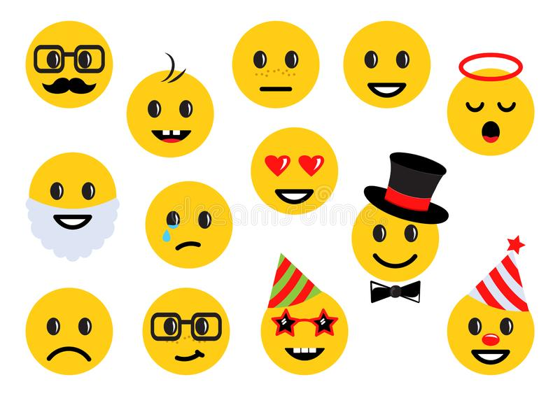 Yellow smileys, set of different emoticon icons. Vector vector illustration