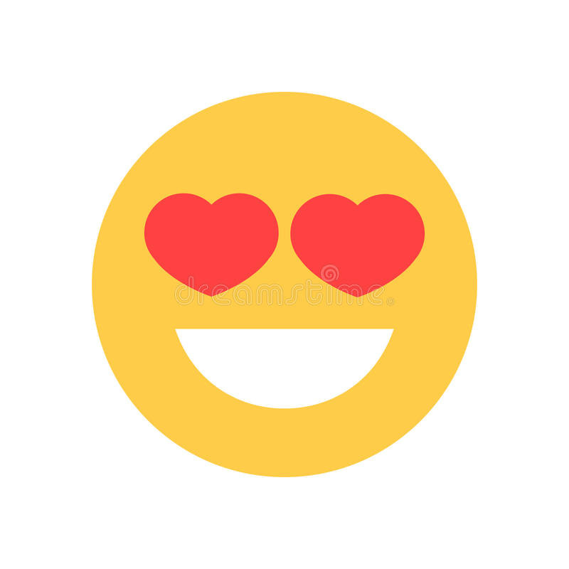 Yellow Smiling Cartoon Face With Heart Shape Eyes Emoji People Emotion Icon stock illustration