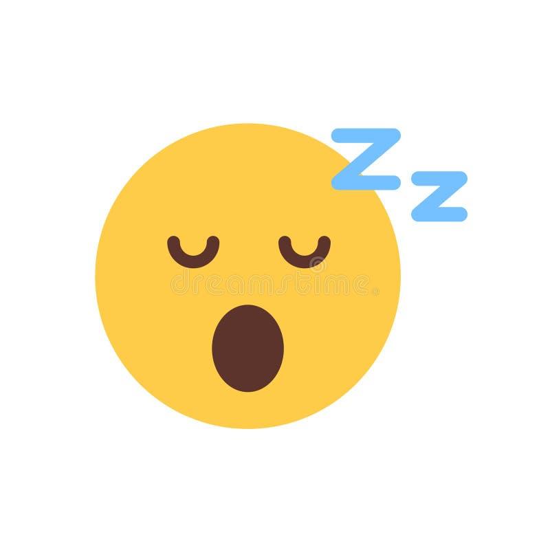 Yellow Smiling Cartoon Face Sleep Emoji People Emotion Icon royalty free illustration