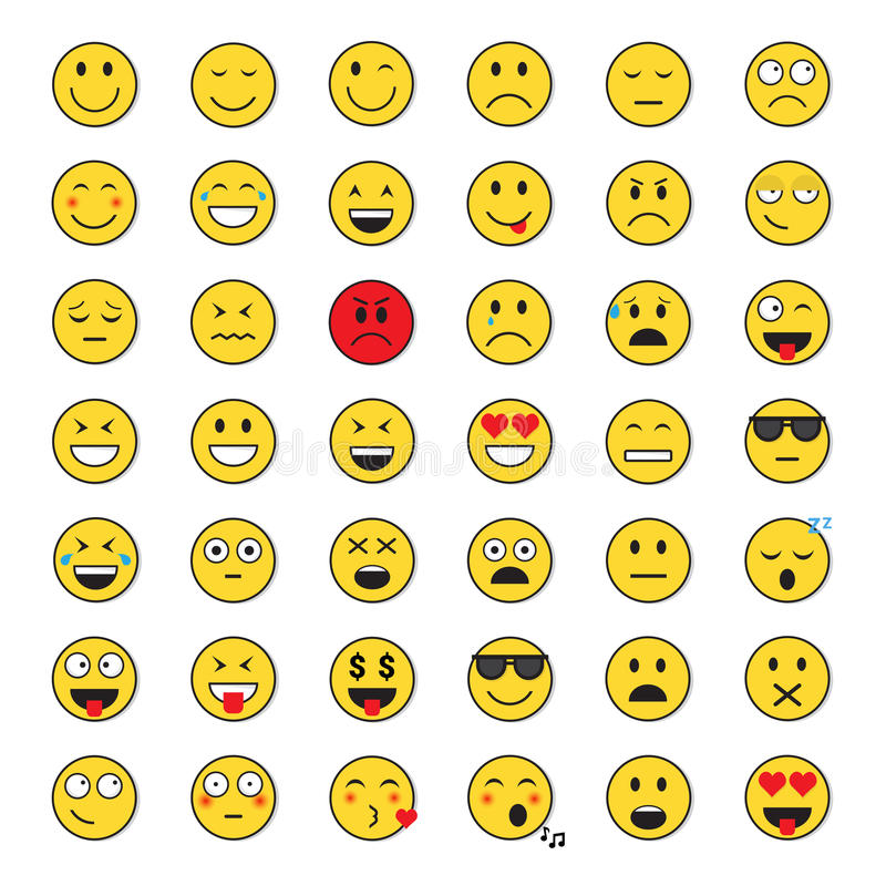 Yellow Smiling Face Positive And Negative People Emotion Icon Set stock illustration