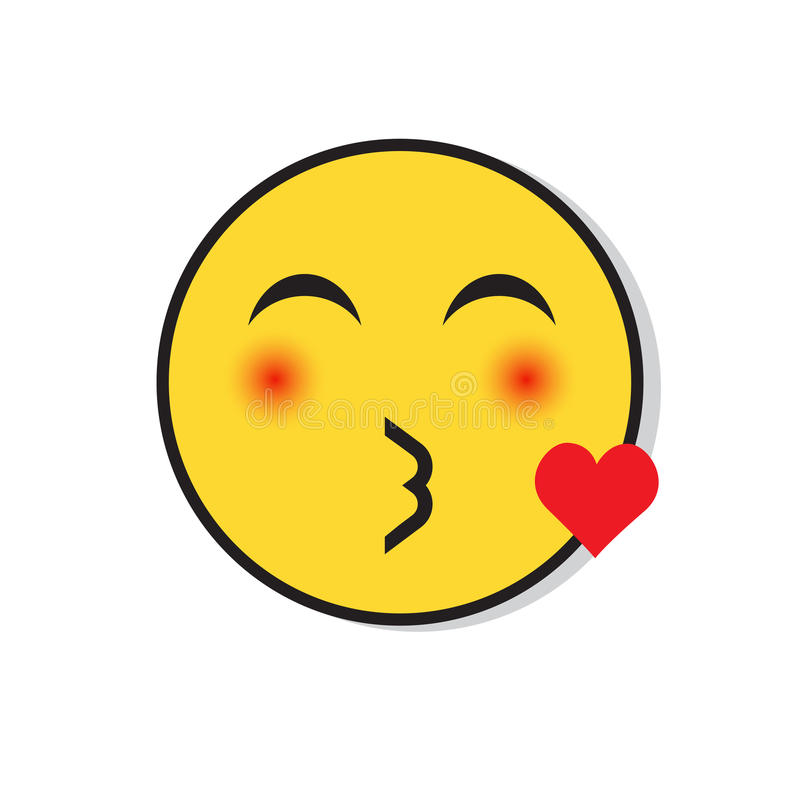 Yellow Smiling Face Sending Blow Kiss Positive People Emotion Icon royalty free illustration