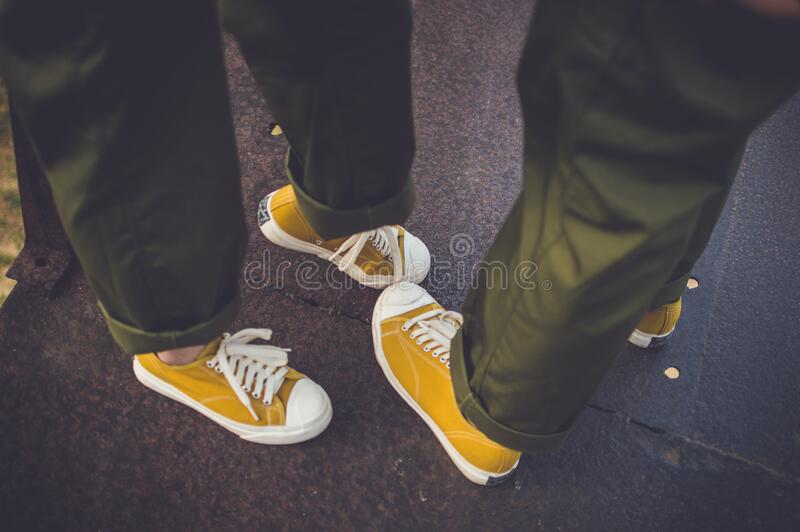 Yellow Sneakers And Green Pants Free Public Domain Cc0 Image