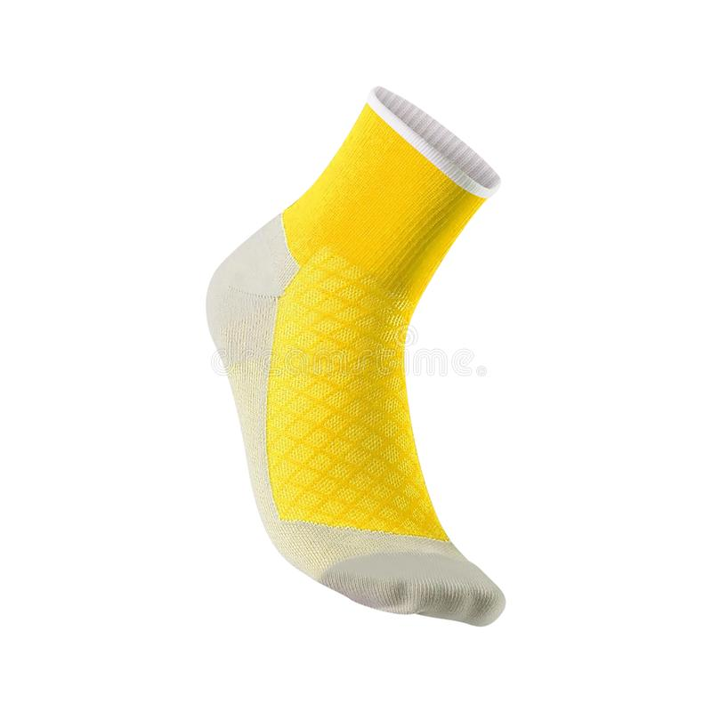 Yellow soccer sock isolated on white royalty free stock photos