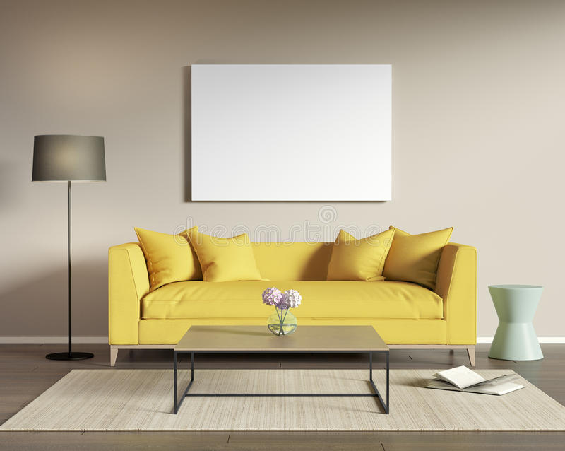 Yellow sofa in a modern living room royalty free illustration