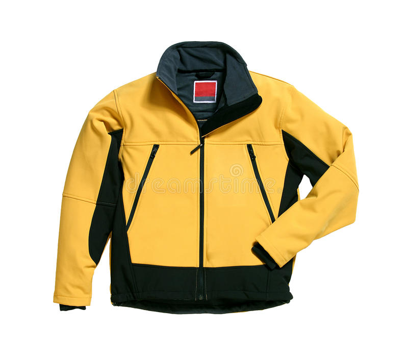 Yellow Softshell Jacket. Softshell-jacket for shot in the studio. The colour of the jacket is yellow. The object is isolated in front of white background royalty free stock image