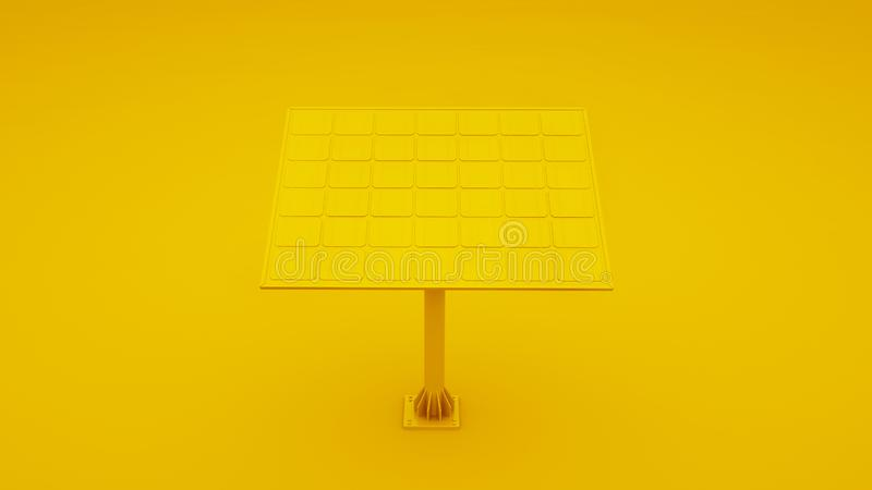 Yellow Solar Panel Isolated. 3D illustration.  royalty free stock image
