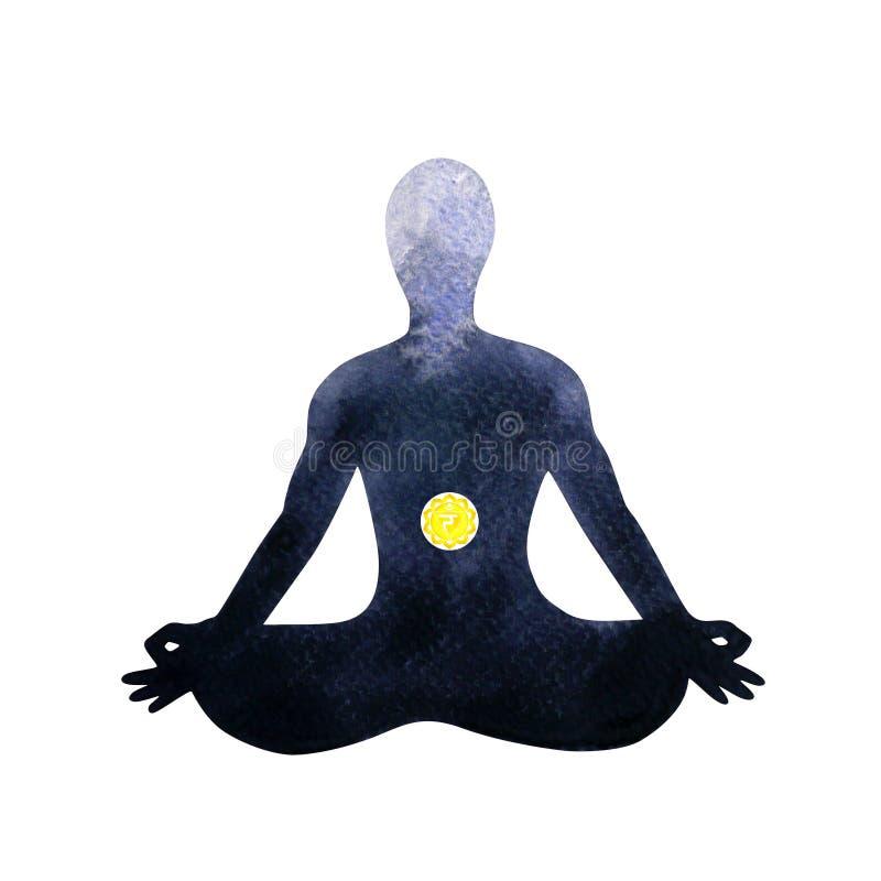 Yellow solar plexus chakra human lotus pose yoga, abstract inside your mind stock illustration
