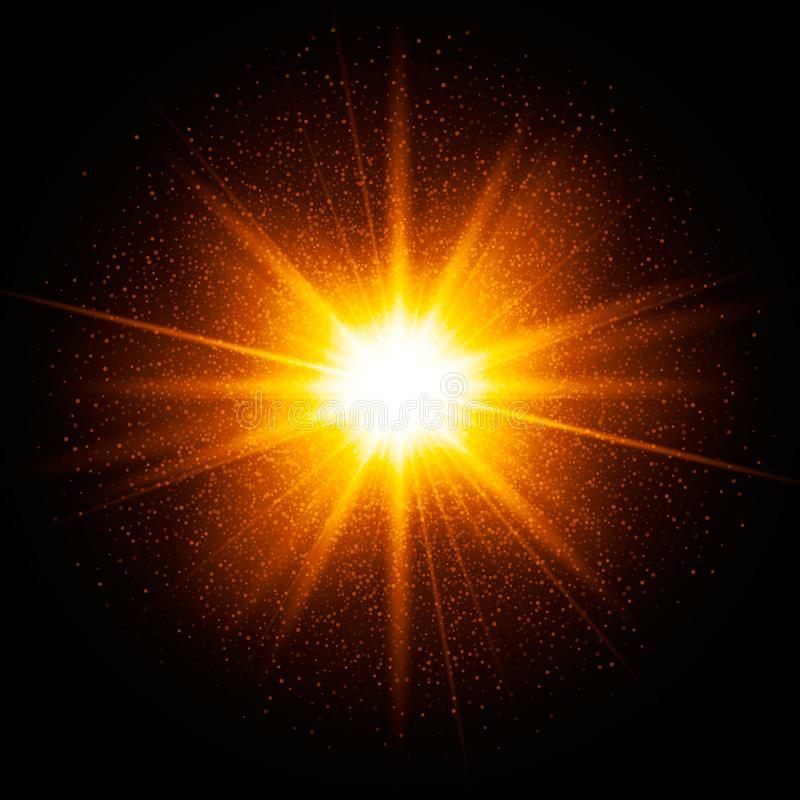 Yellow spark. Star burst with sparkles. Gold glitter particles, dust. Transparent glow light effect. Vector illustration on dark b vector illustration