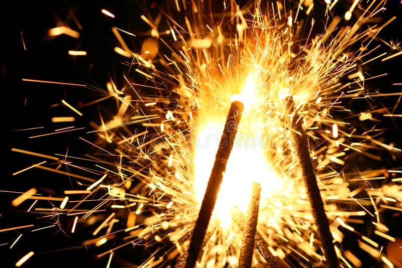 Yellow sparkler royalty free stock photos