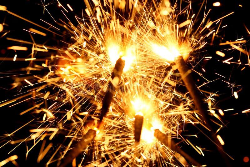 Yellow sparkler stock photo
