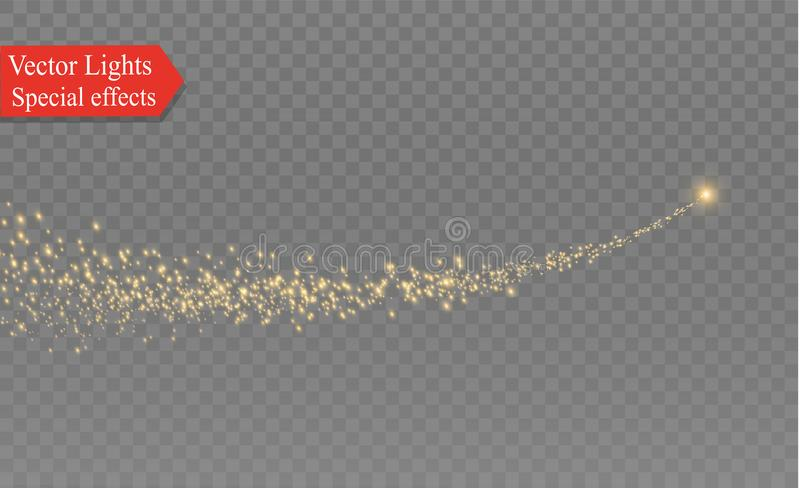 Yellow sparks and stars shine with special light. Sparkling magical dust particles. The effect of a flare flare with a vector illustration