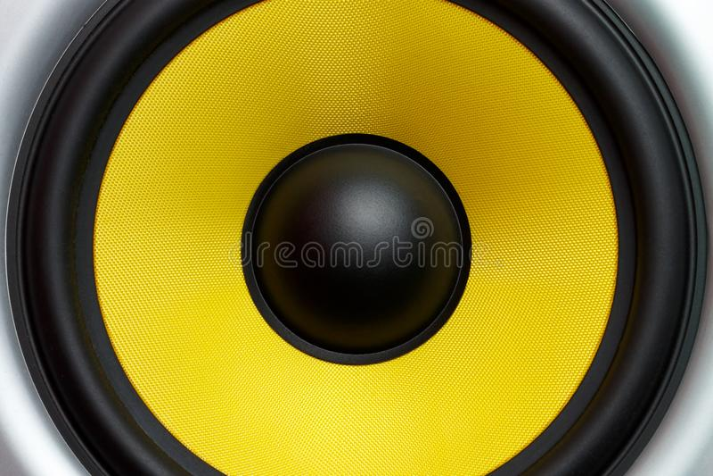 Yellow speaker loudspeaker close-up part of a musical column stock image