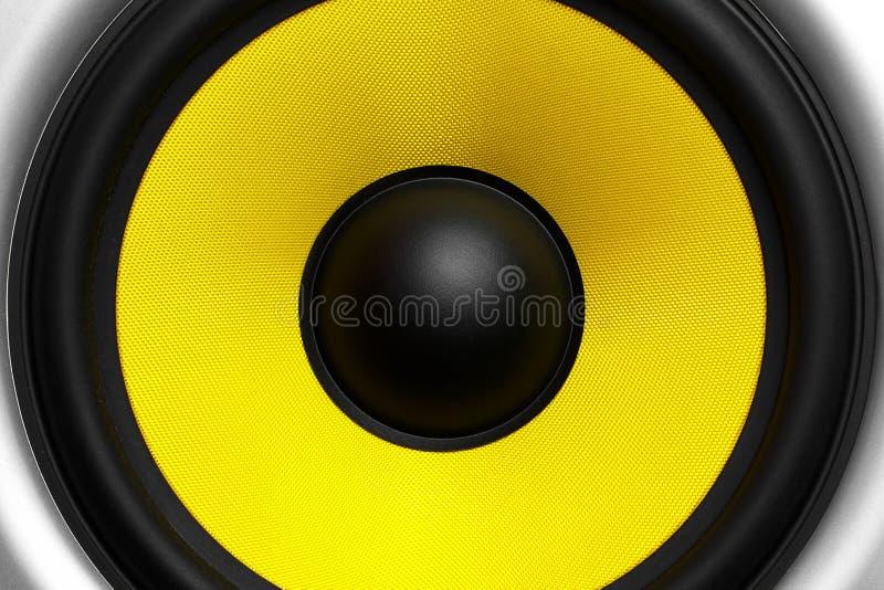 Yellow speaker loudspeaker close-up part of a musical column stock photo