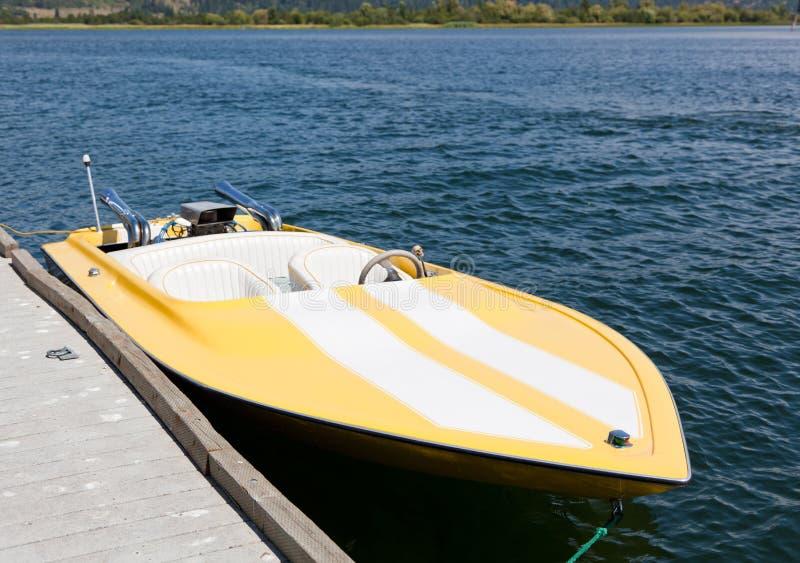 Yellow Speed Boat royalty free stock photos