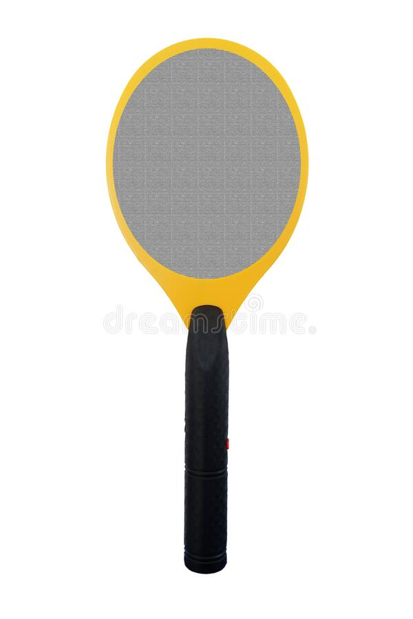 Yellow spider Electric mosquito swatter with black handle isolated on white background.  stock photos