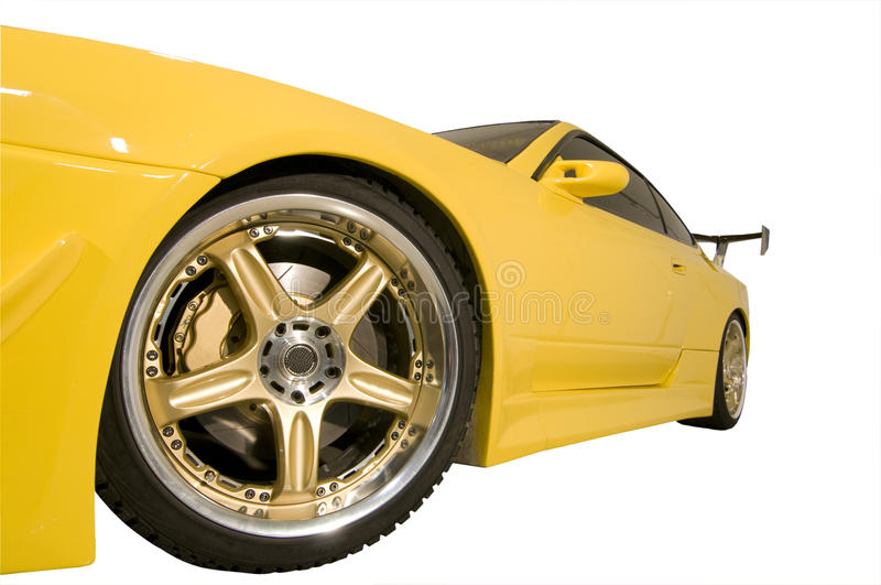 Yellow sport car stock photos