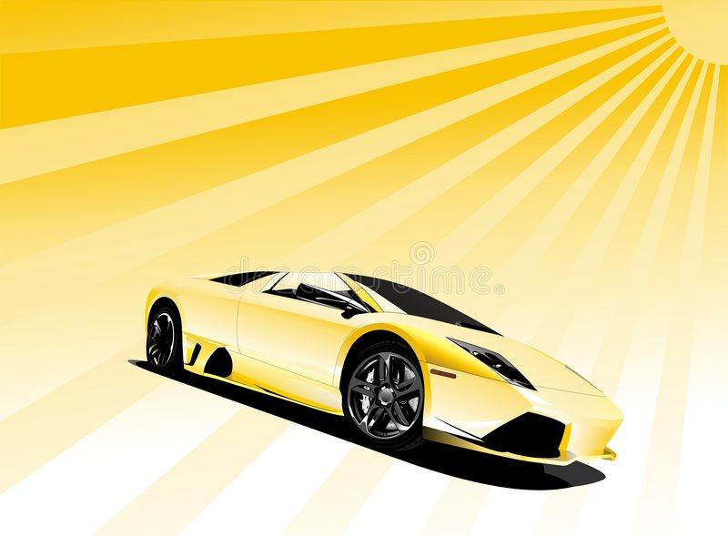 Yellow sport car. On a sun background vector illustration