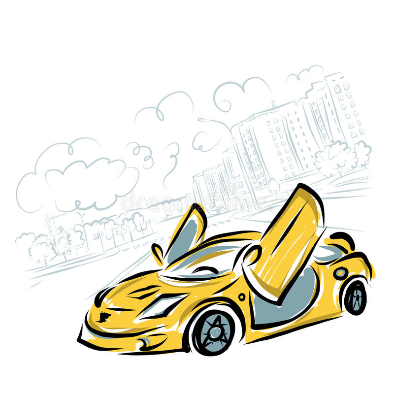 Download Yellow Sport Car On City Background For Your Stock Vector - Image: 34343337