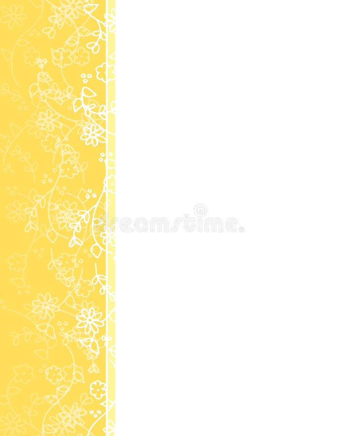 Yellow Spring Flower Vine Left Border Royalty Free Stock Image